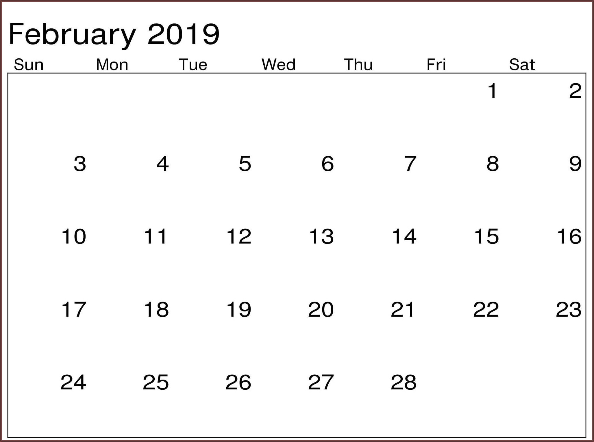 Work Schedule Calendar Template 2019