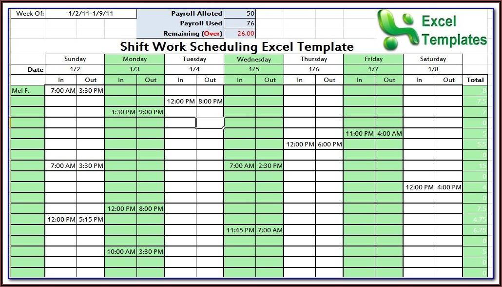 Work Schedule Calendar Template