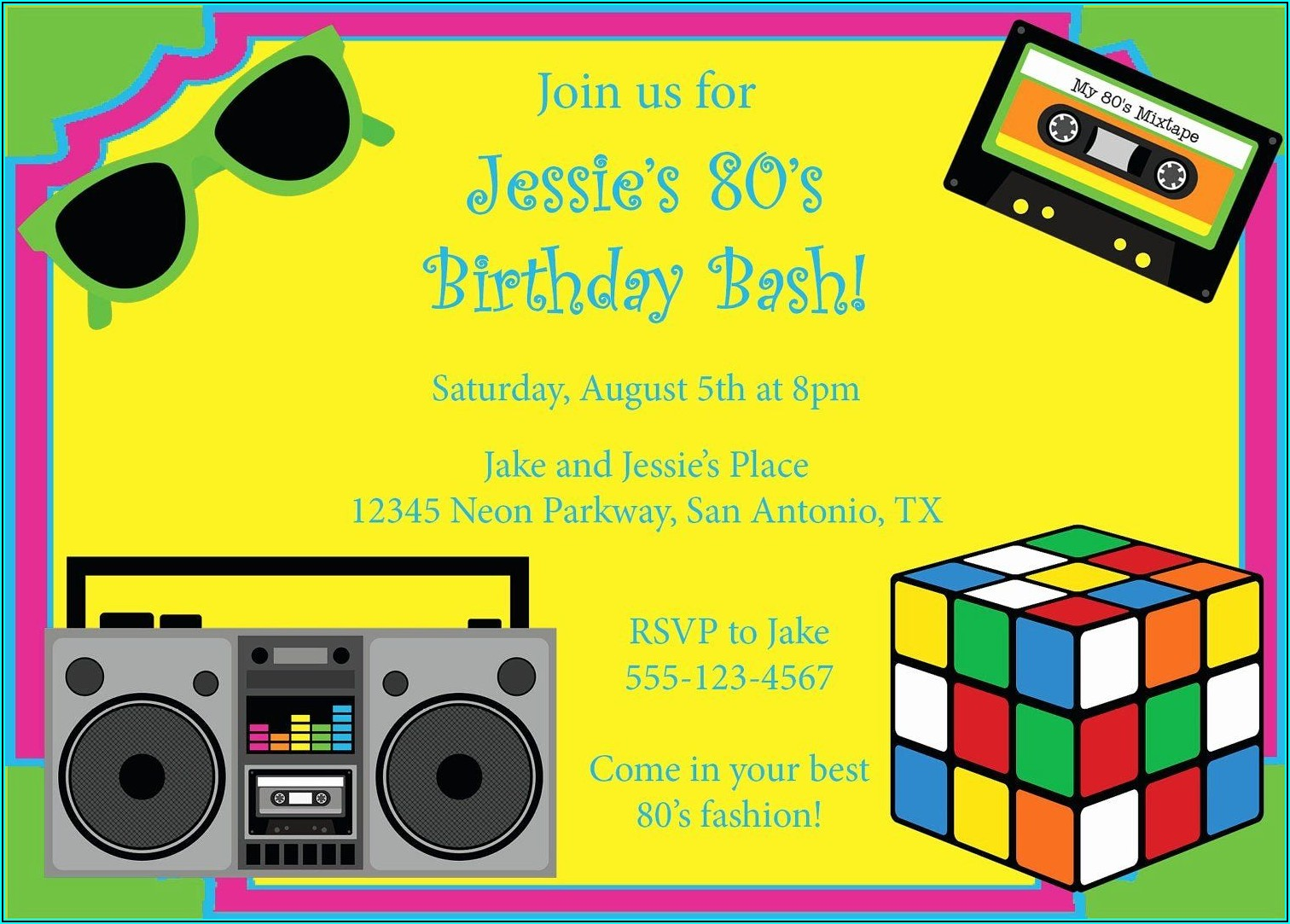 80's Theme Christmas Party Invitation Templates Free