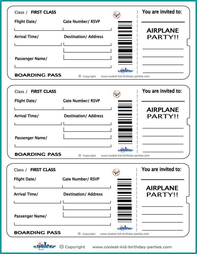 Airplane Ticket Invitation Template
