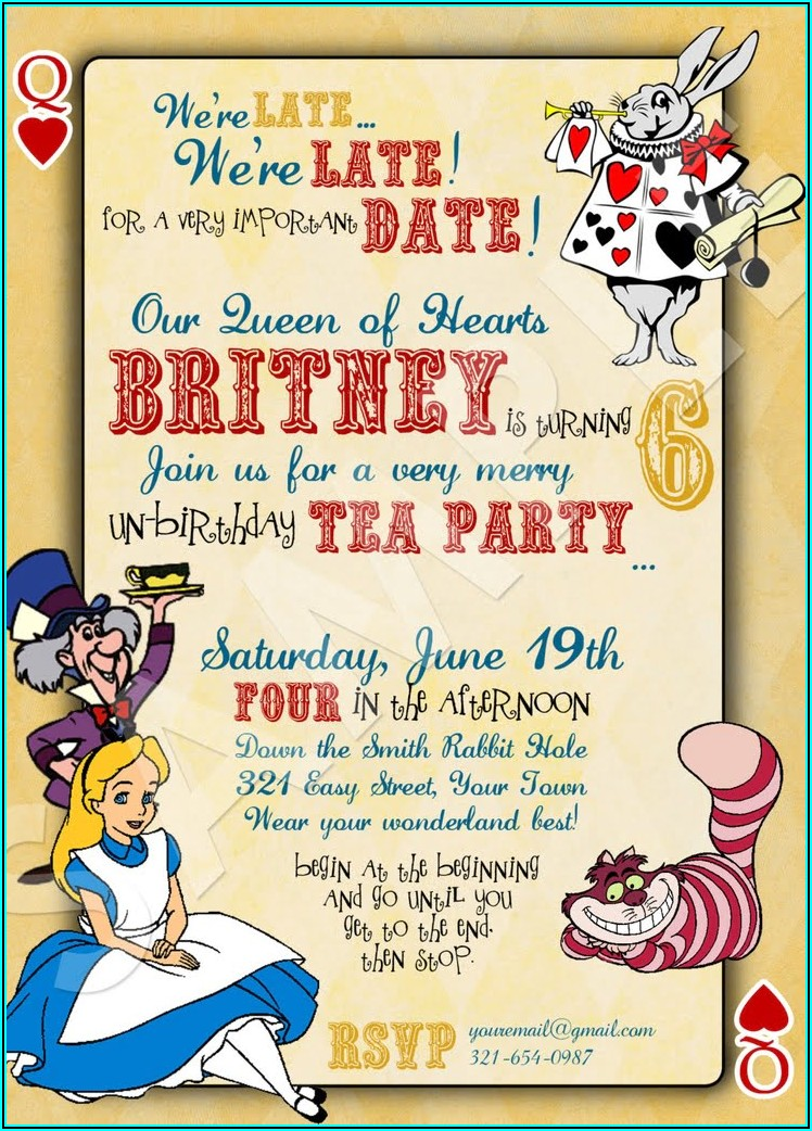 Alice In Wonderland Birthday Invitations Templates Free