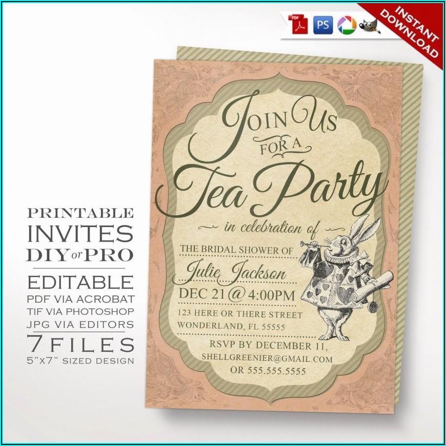 Alice In Wonderland Invitation Template Free Download