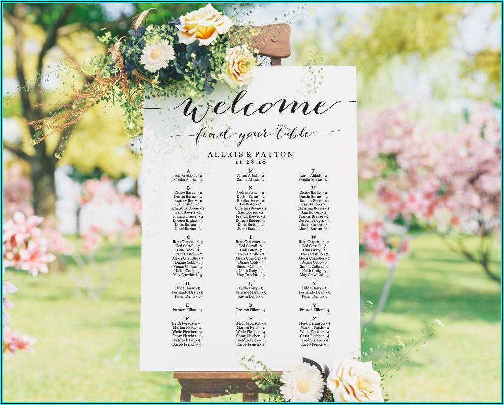 Alphabetical Seating Chart Poster Template