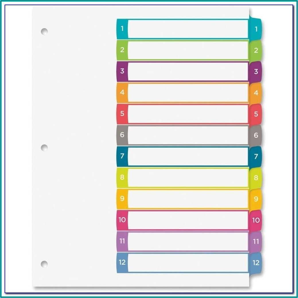 Avery Ready Index 12 Tab Template