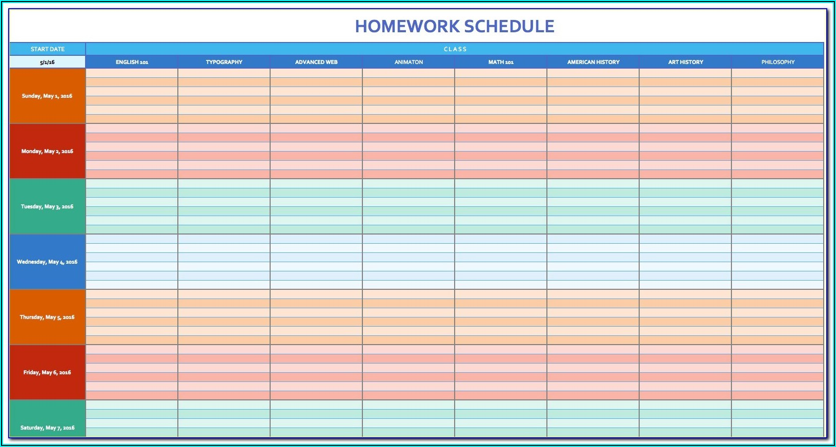 Blank Monthly Staffing Schedule Template