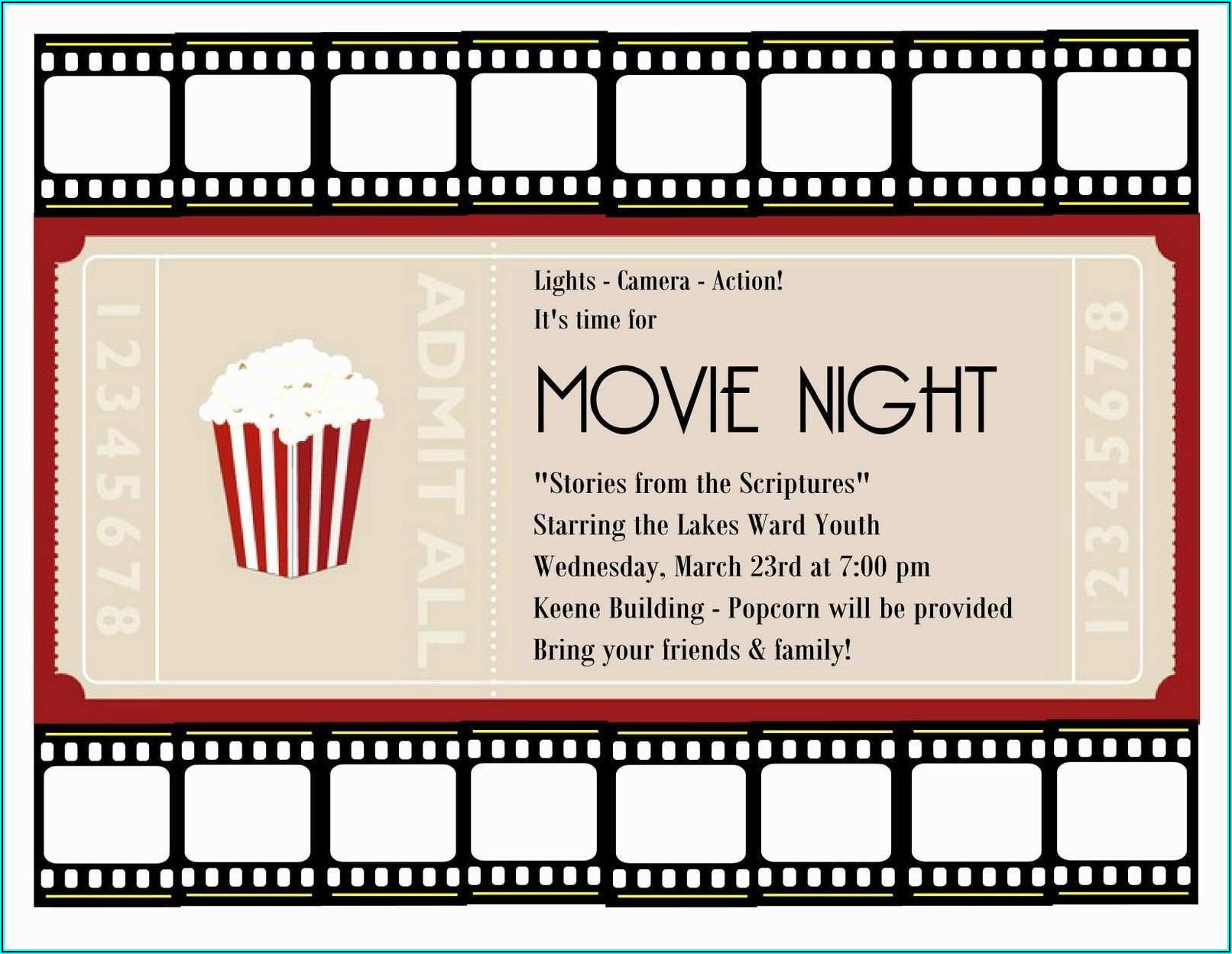 Blank Movie Ticket Invitation Template