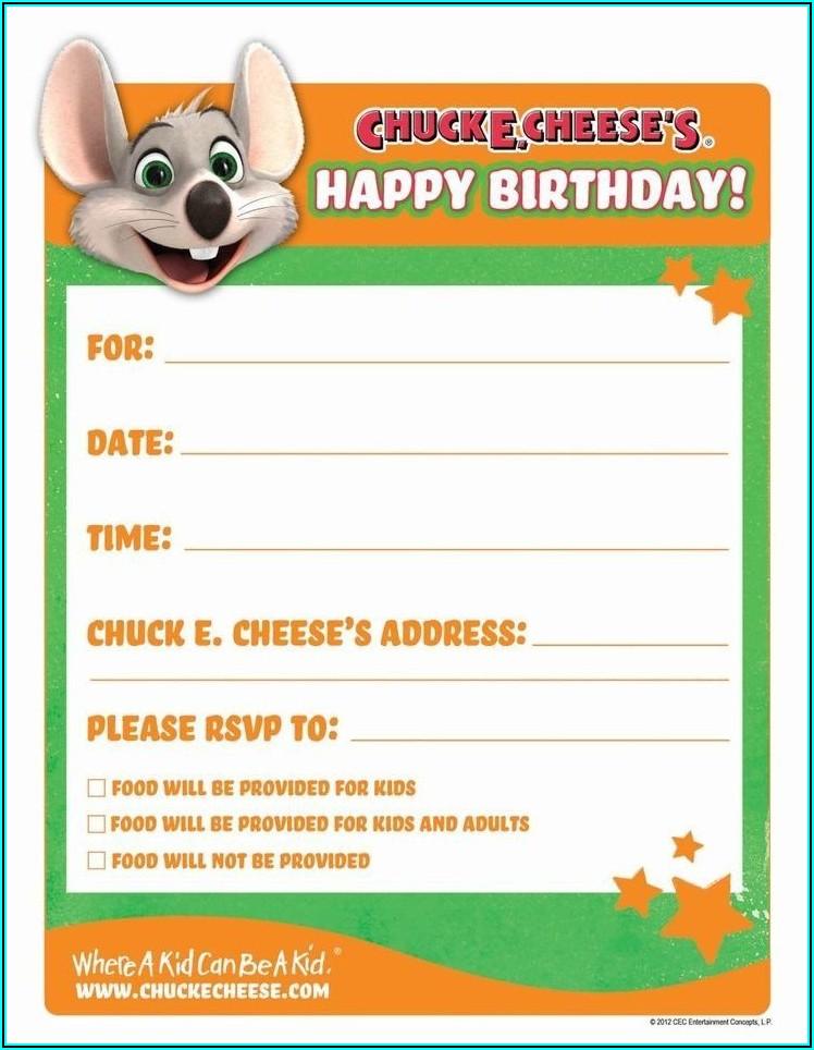 Chuck E Cheese Invitation Template