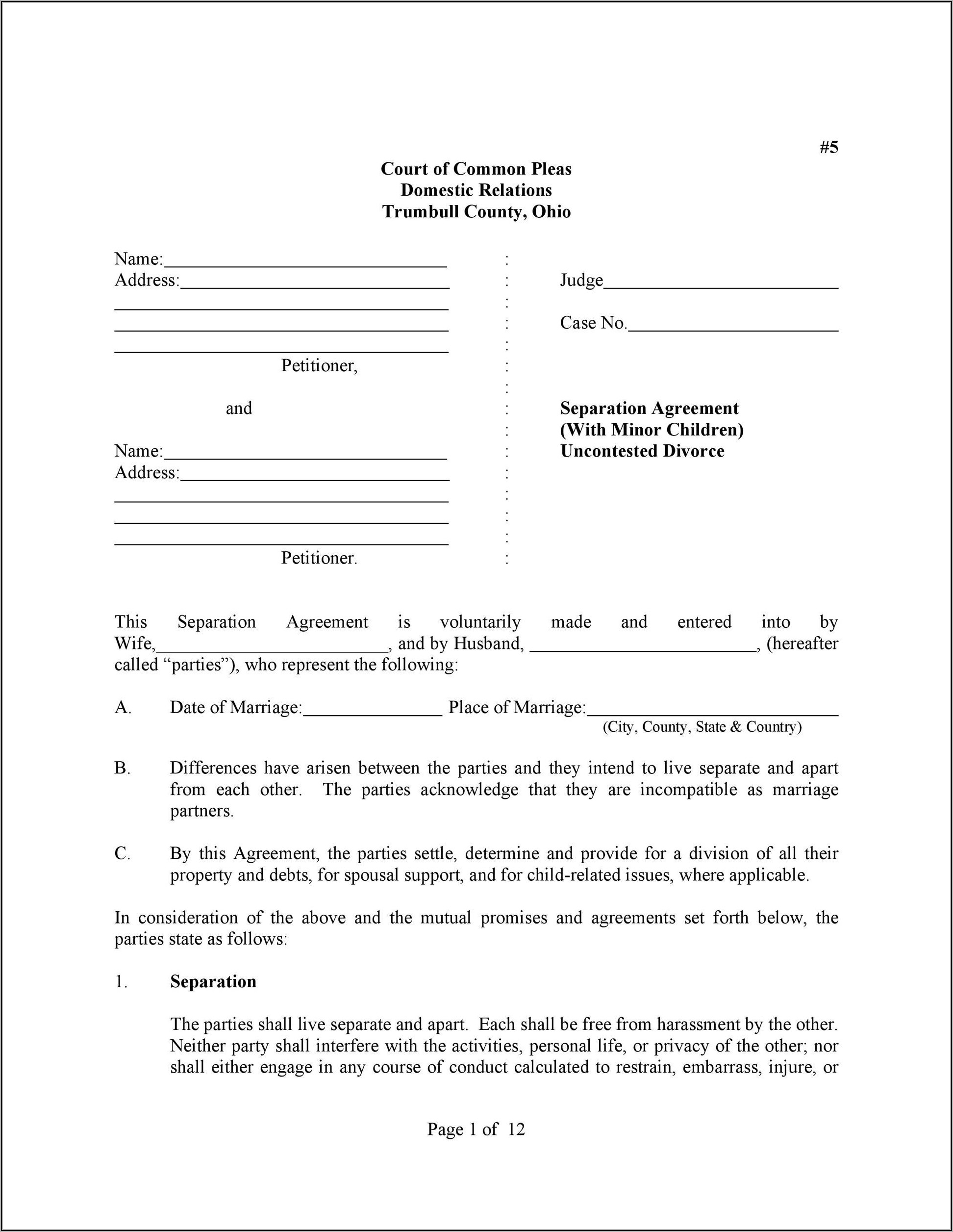 Common Law Separation Agreement Template Alberta