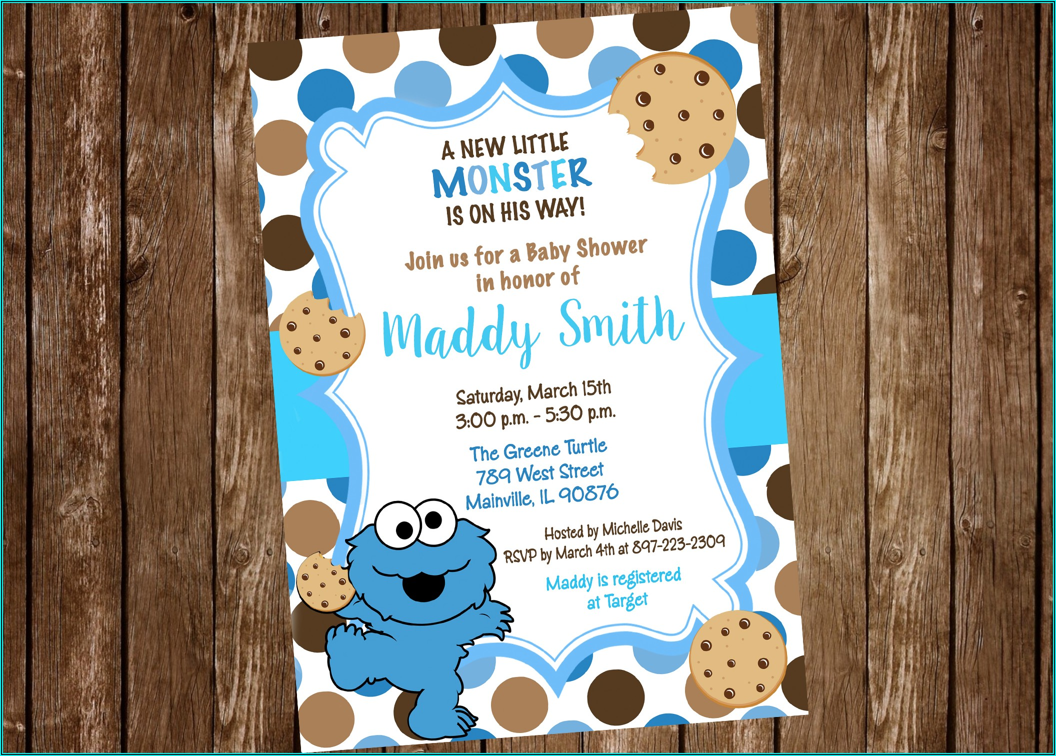 Cookie Monster Baby Shower Invitation Template Free
