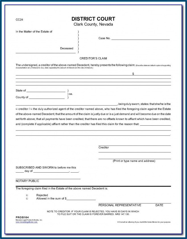 Creditor's Claim Form Washington State