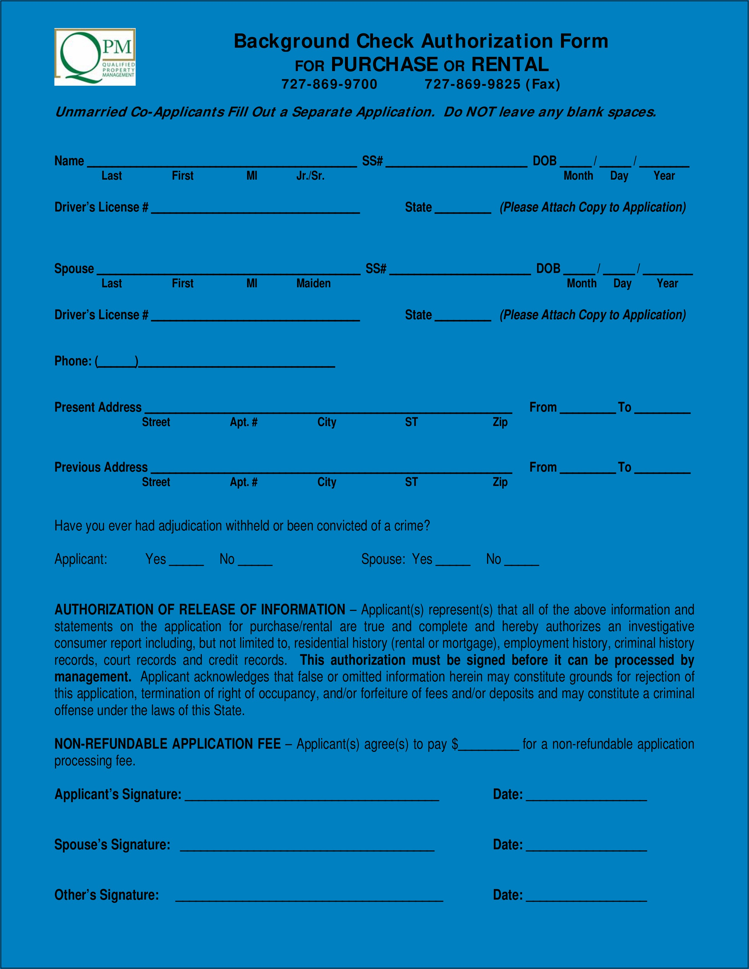 Criminal Background Check Authorization Form Shrm