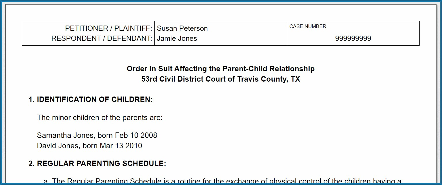 Custody Modification Forms Texas