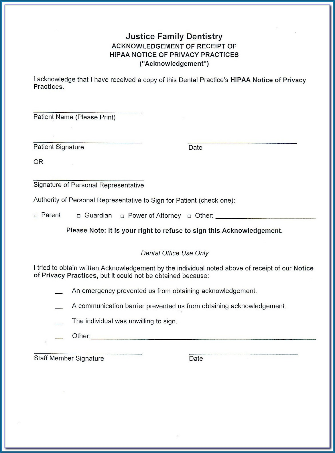 Dental Hipaa Forms