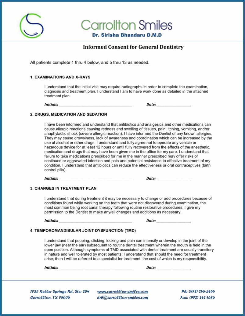 Denture Delivery Consent Form