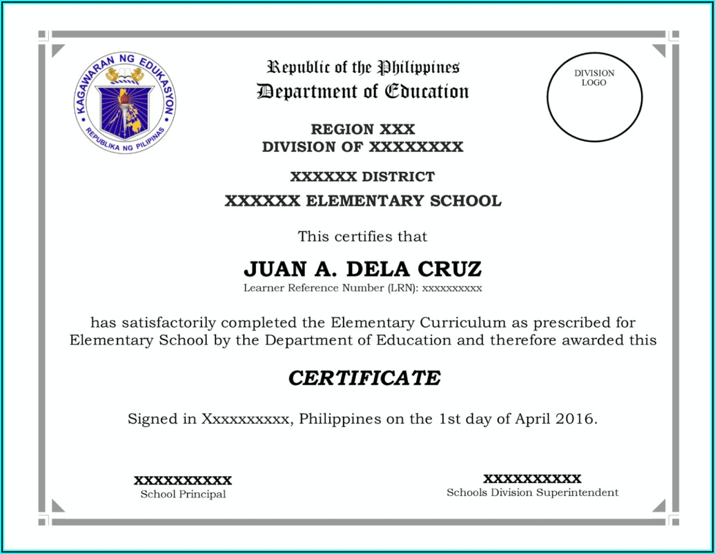 Diploma Certificate Template Philippines