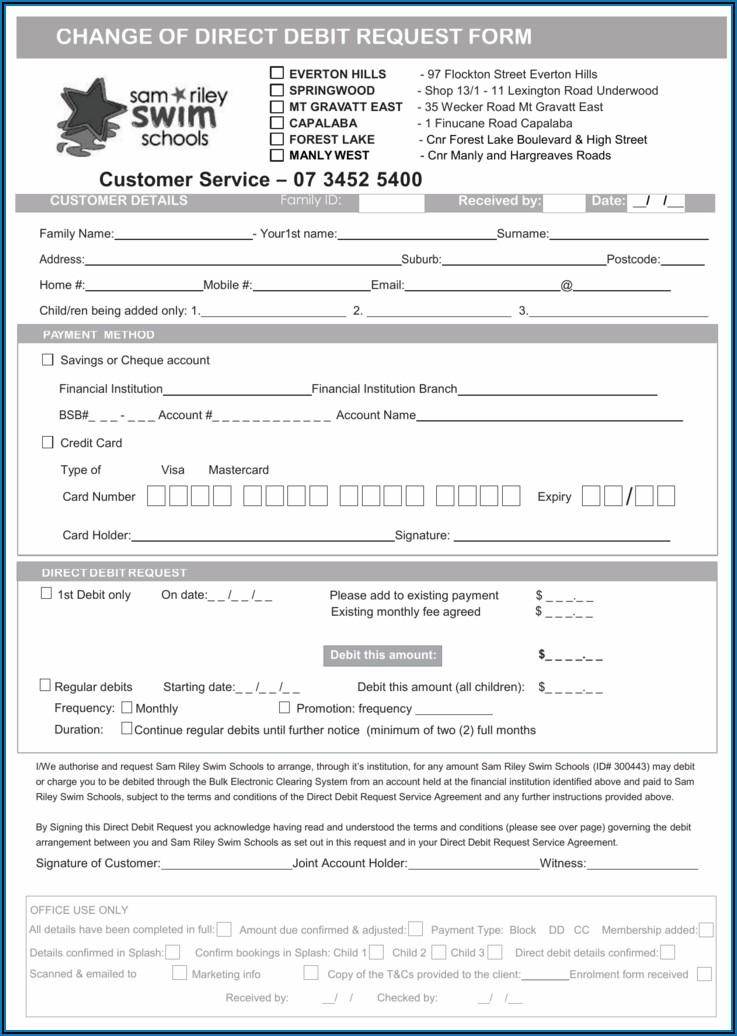Direct Debit Request Form Template