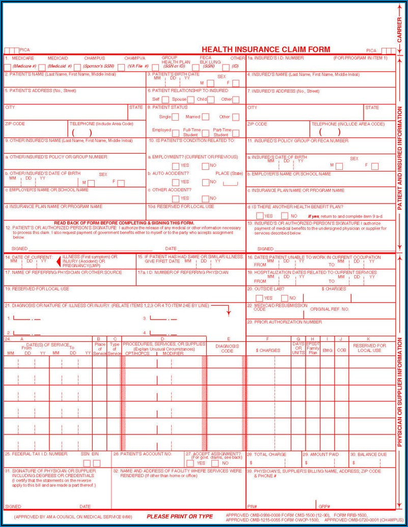Discuss The History Of The Health Insurance Claim Form (cms 1500)