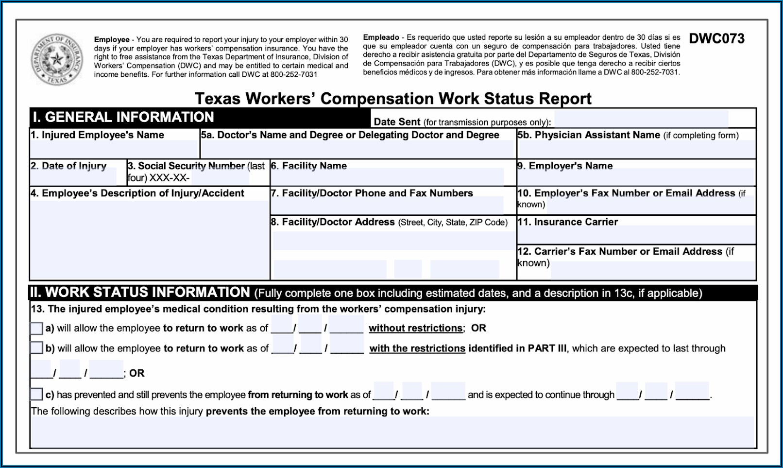 Division Of Workers Compensation Texas Forms