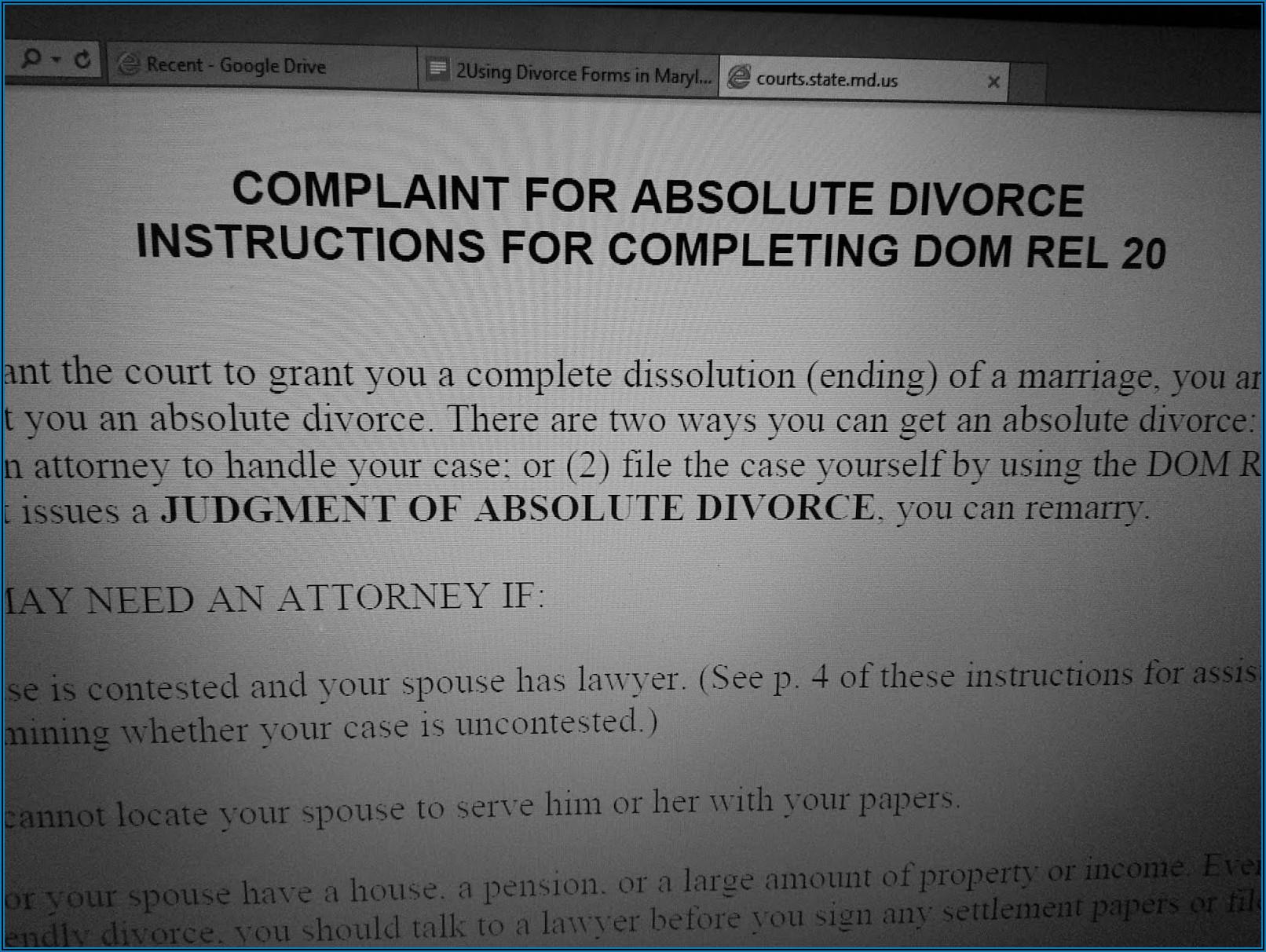 Divorce Paperwork Maryland