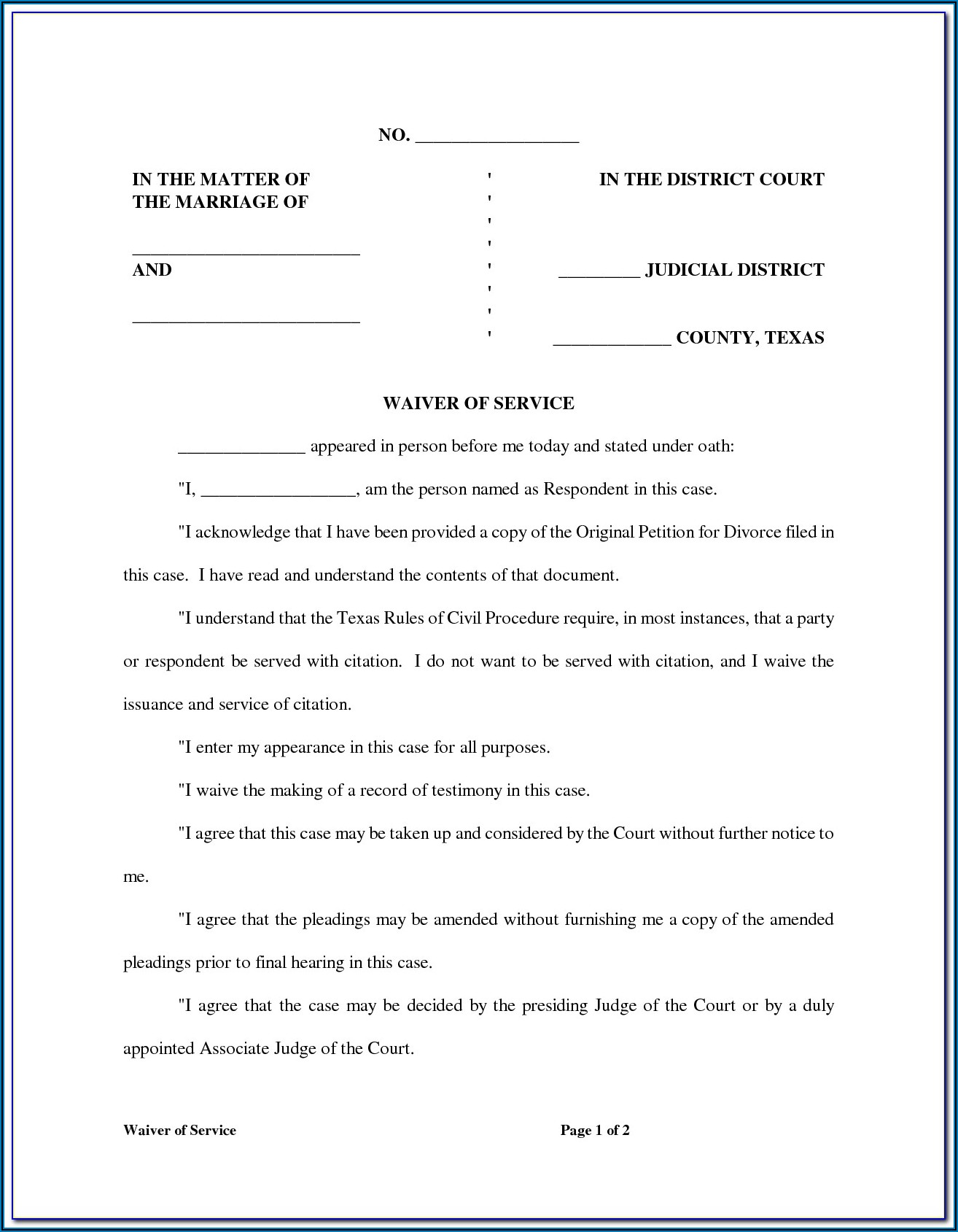 Divorce Waiver Form Arkansas