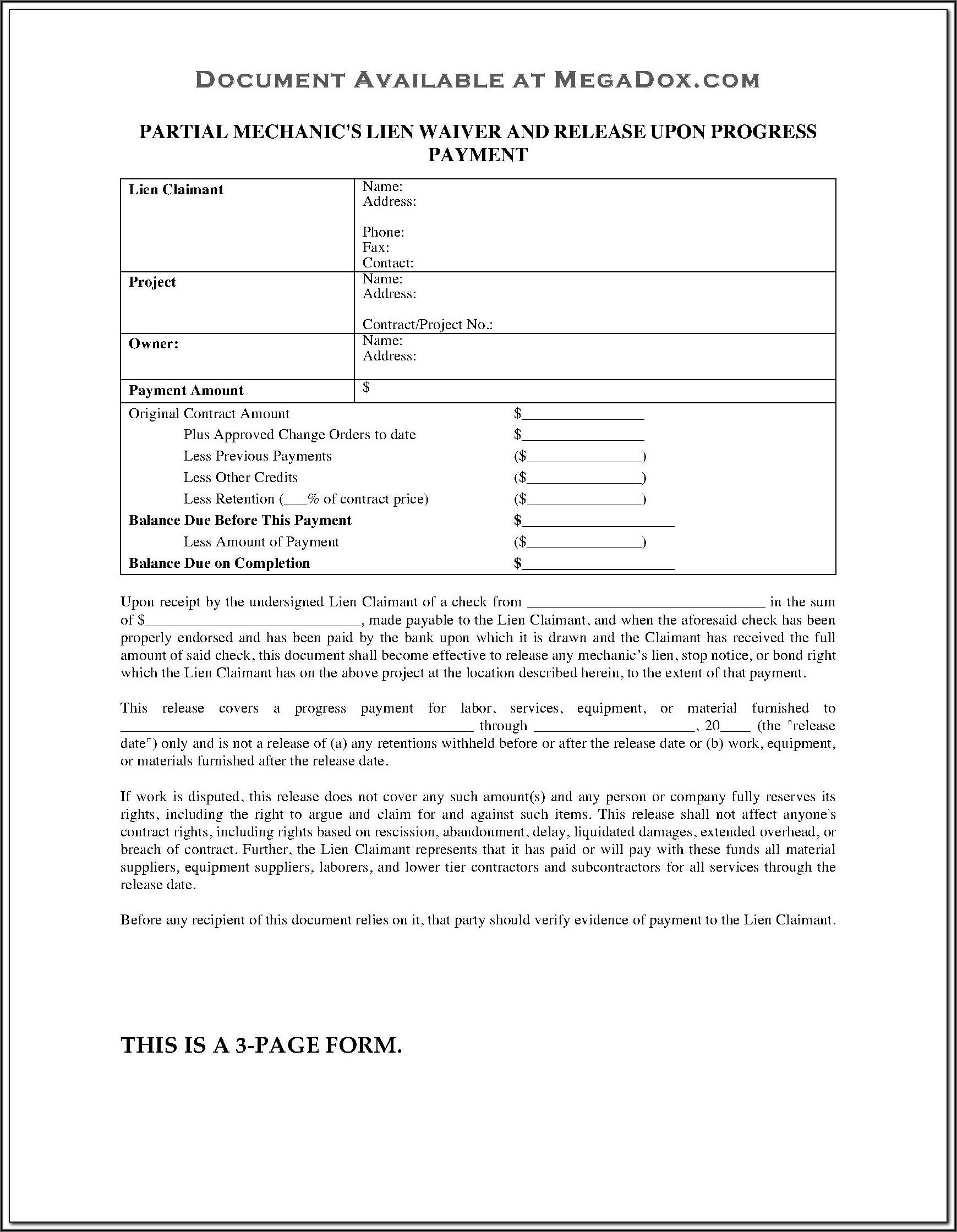 Divorce Waiver Form