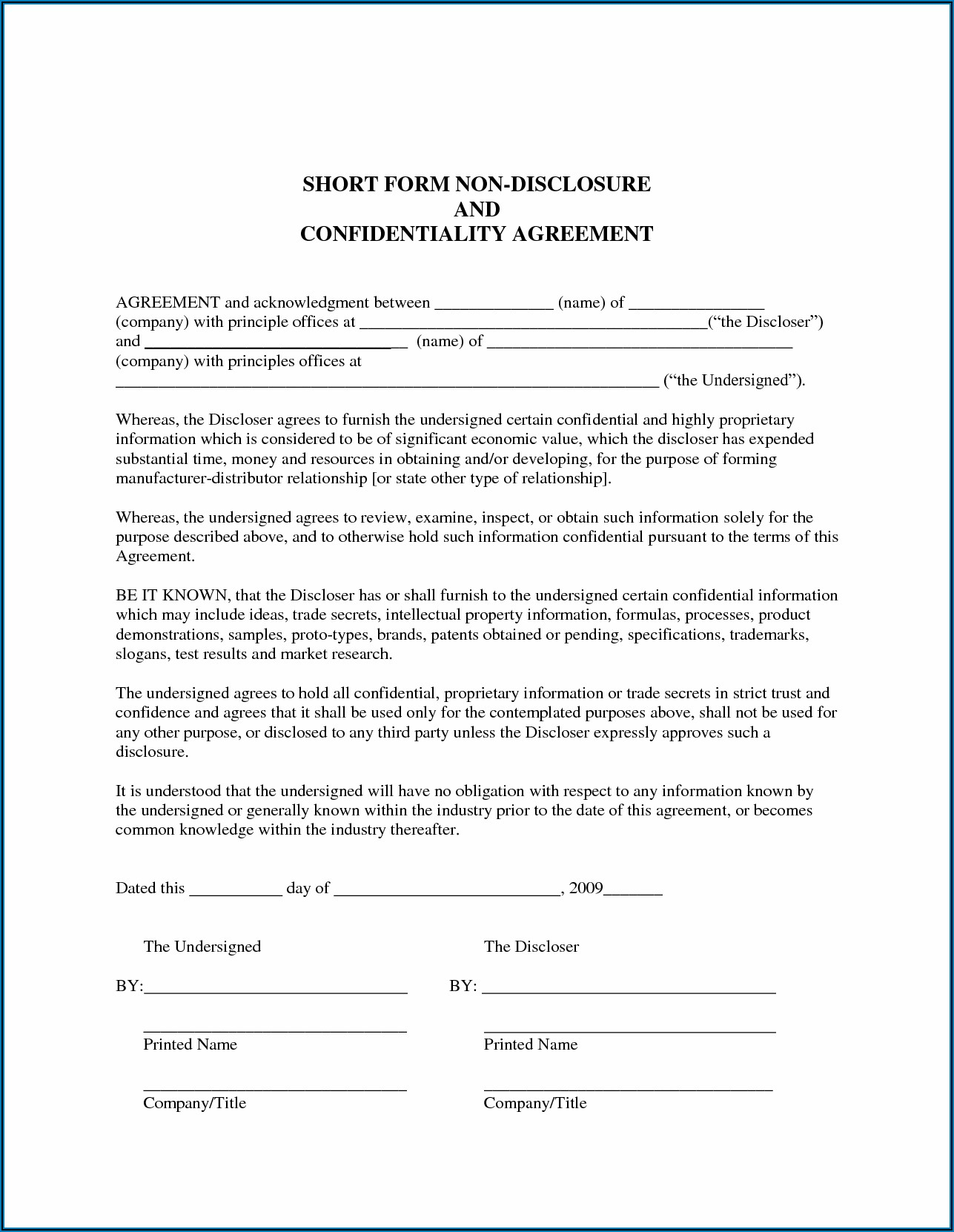 Dod Non Disclosure Agreement Form