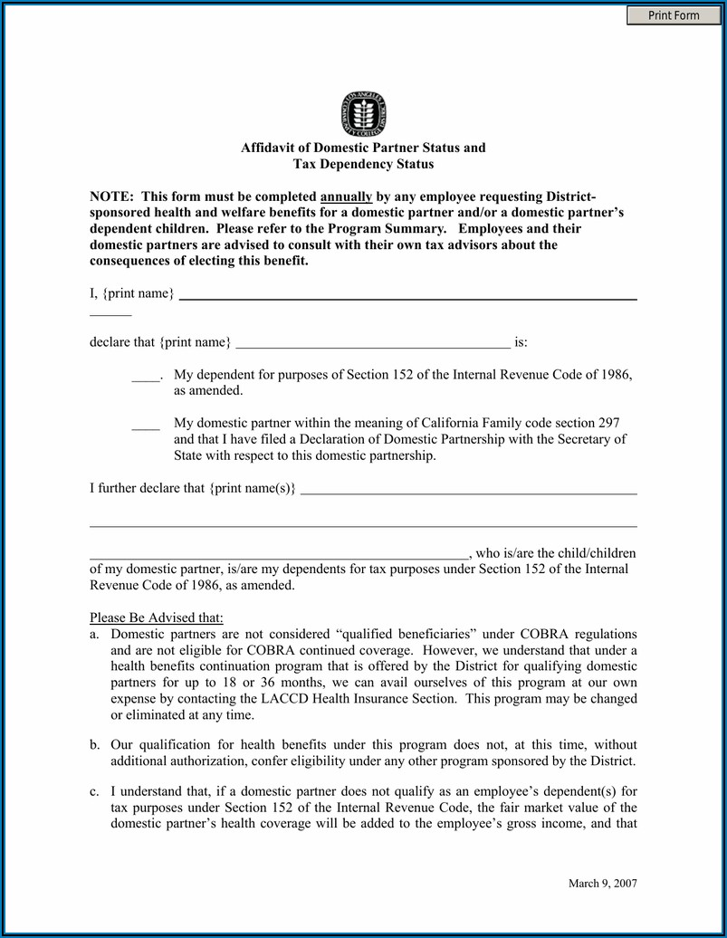 Domestic Partnership Forms California