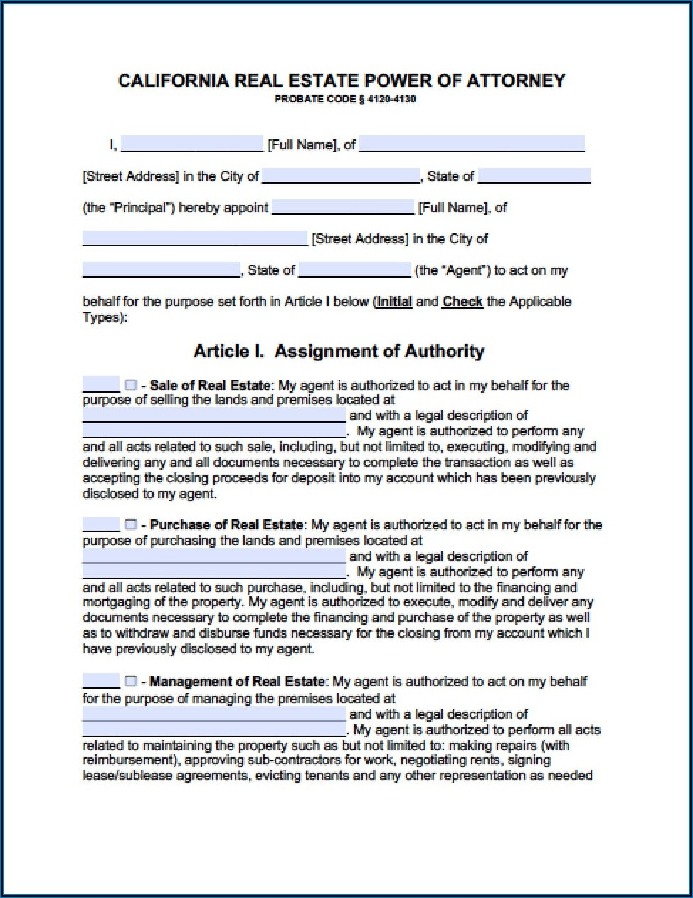 Durable Power Of Attorney Free Forms California