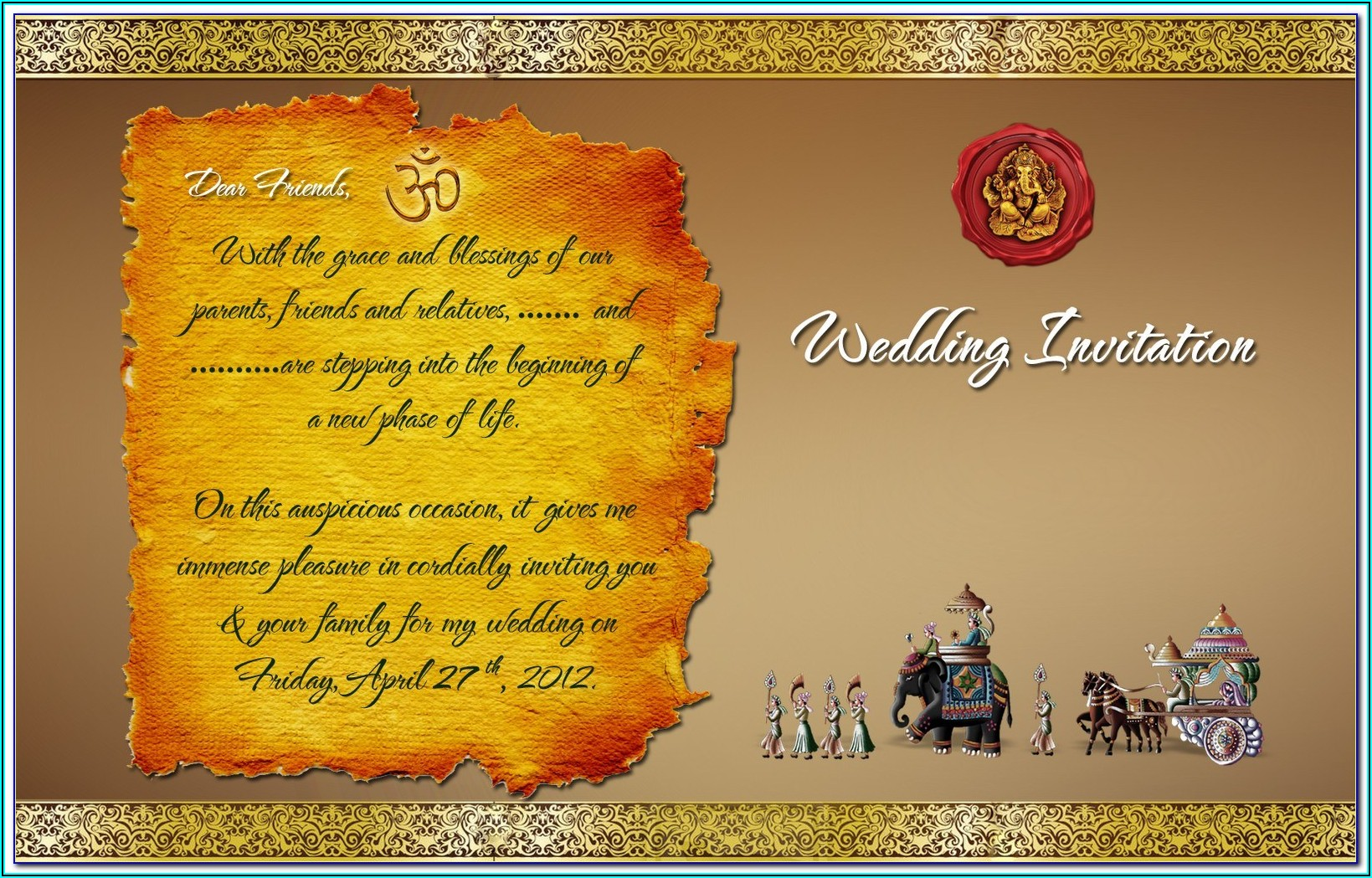 Editable Indian Wedding Invitation Templates Free Download