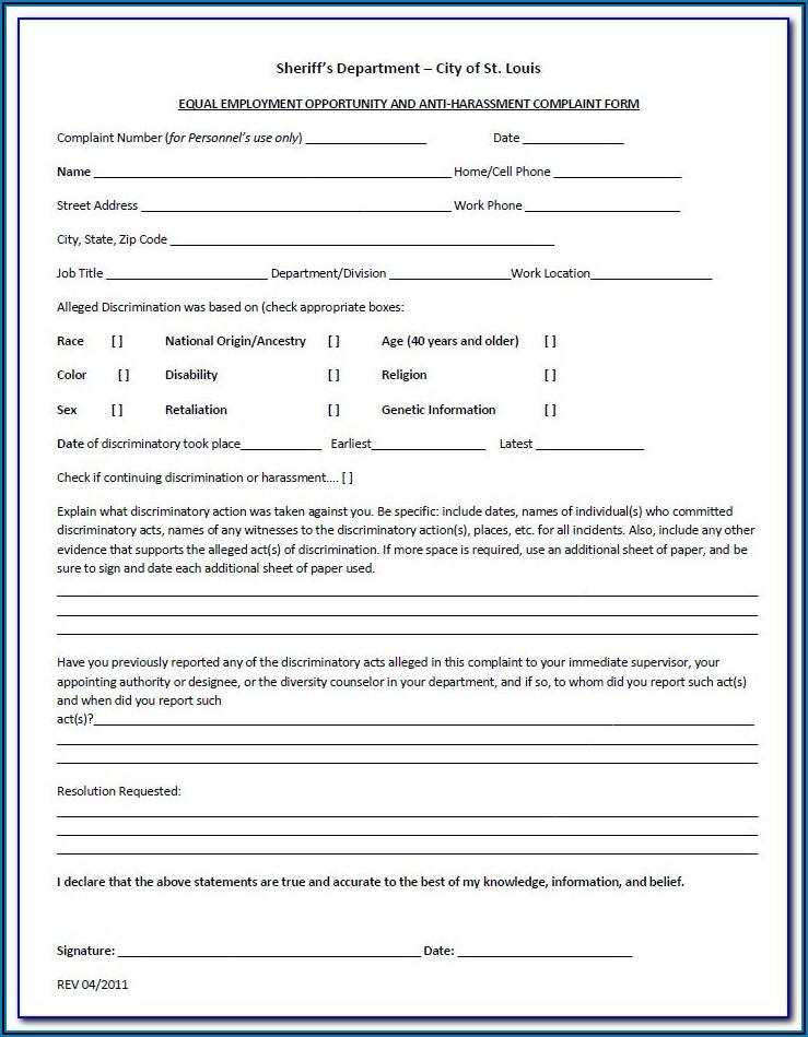 Eeoc Discrimination Complaint Form Pdf