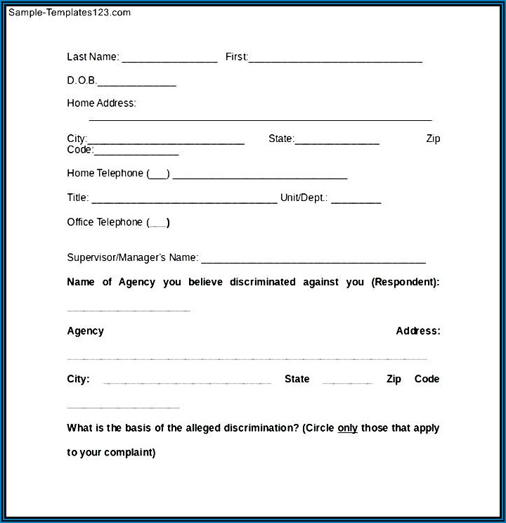 Eeoc Discrimination Complaint Form