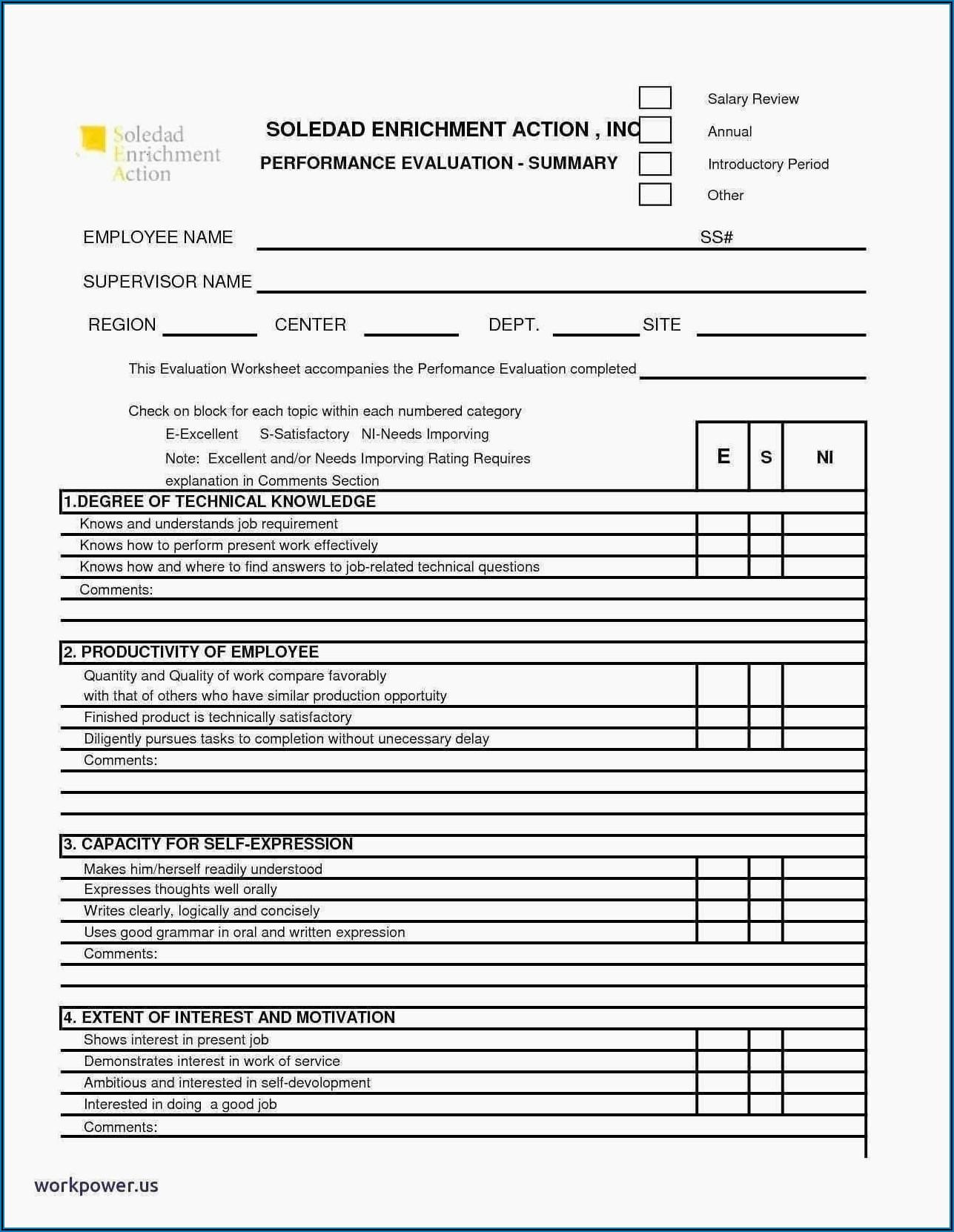 Employee Performance Appraisal Format