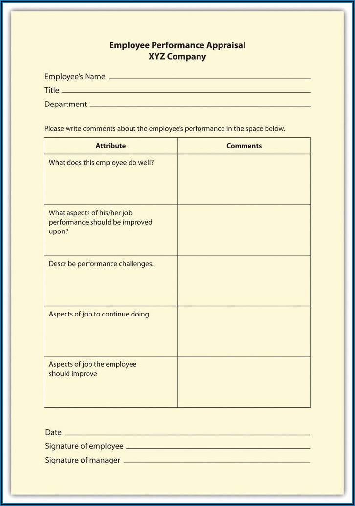 Employee Performance Appraisal Forms