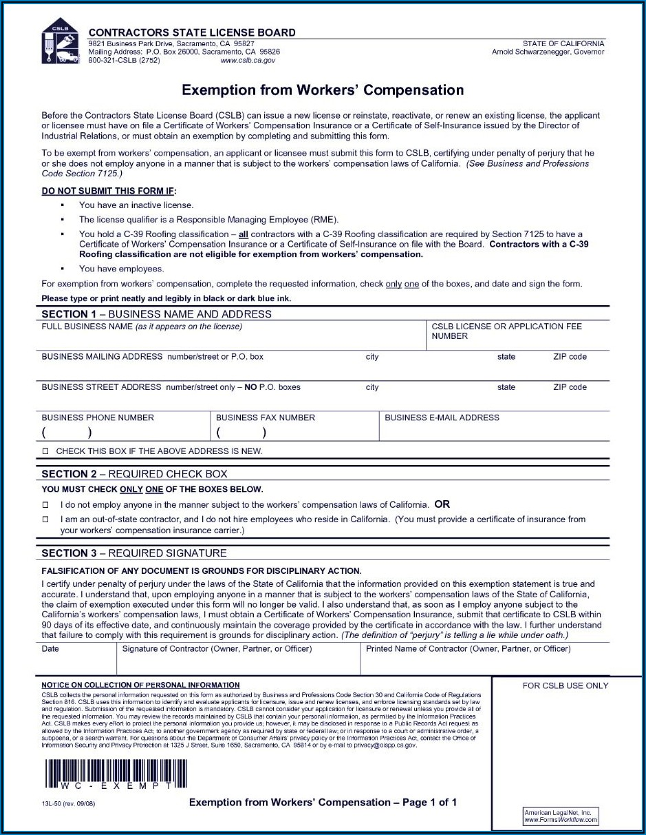 Employee Waiver Of Workers Compensation Form