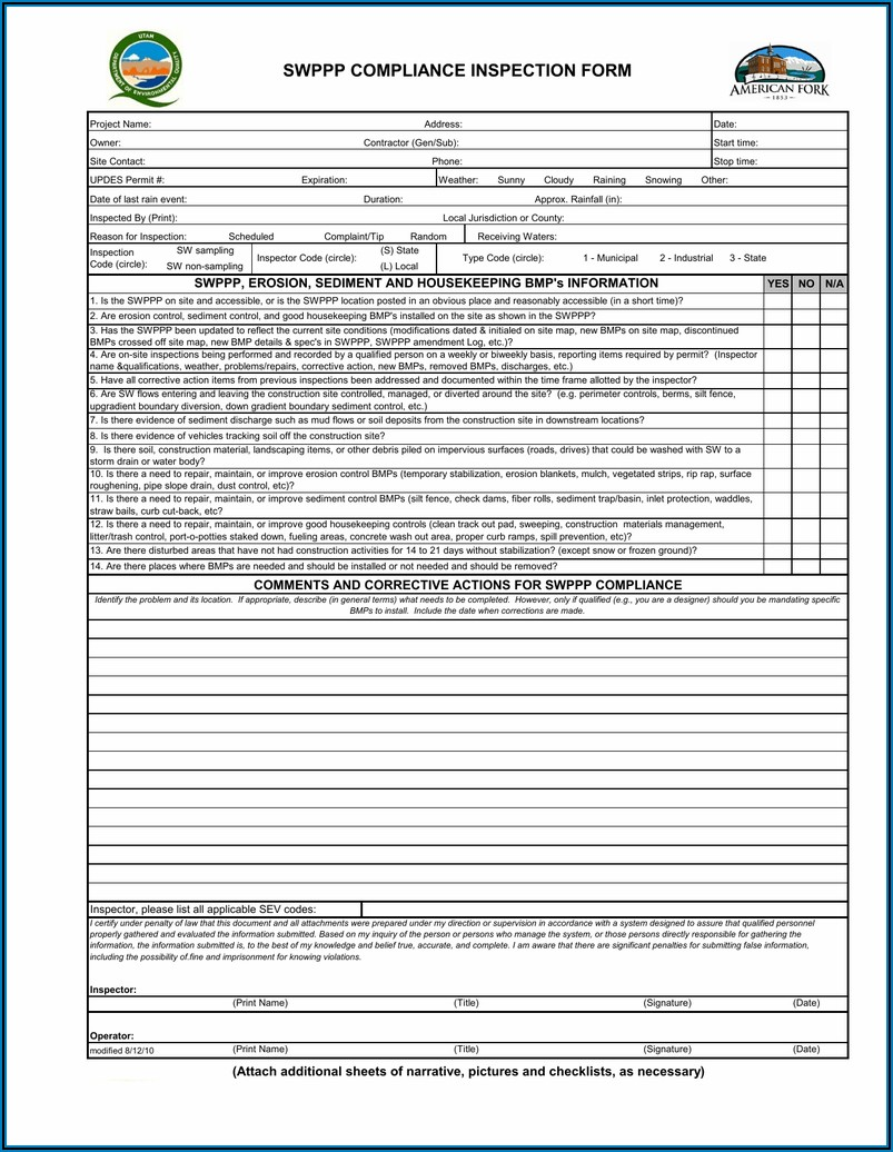 Epa Stormwater Inspection Form