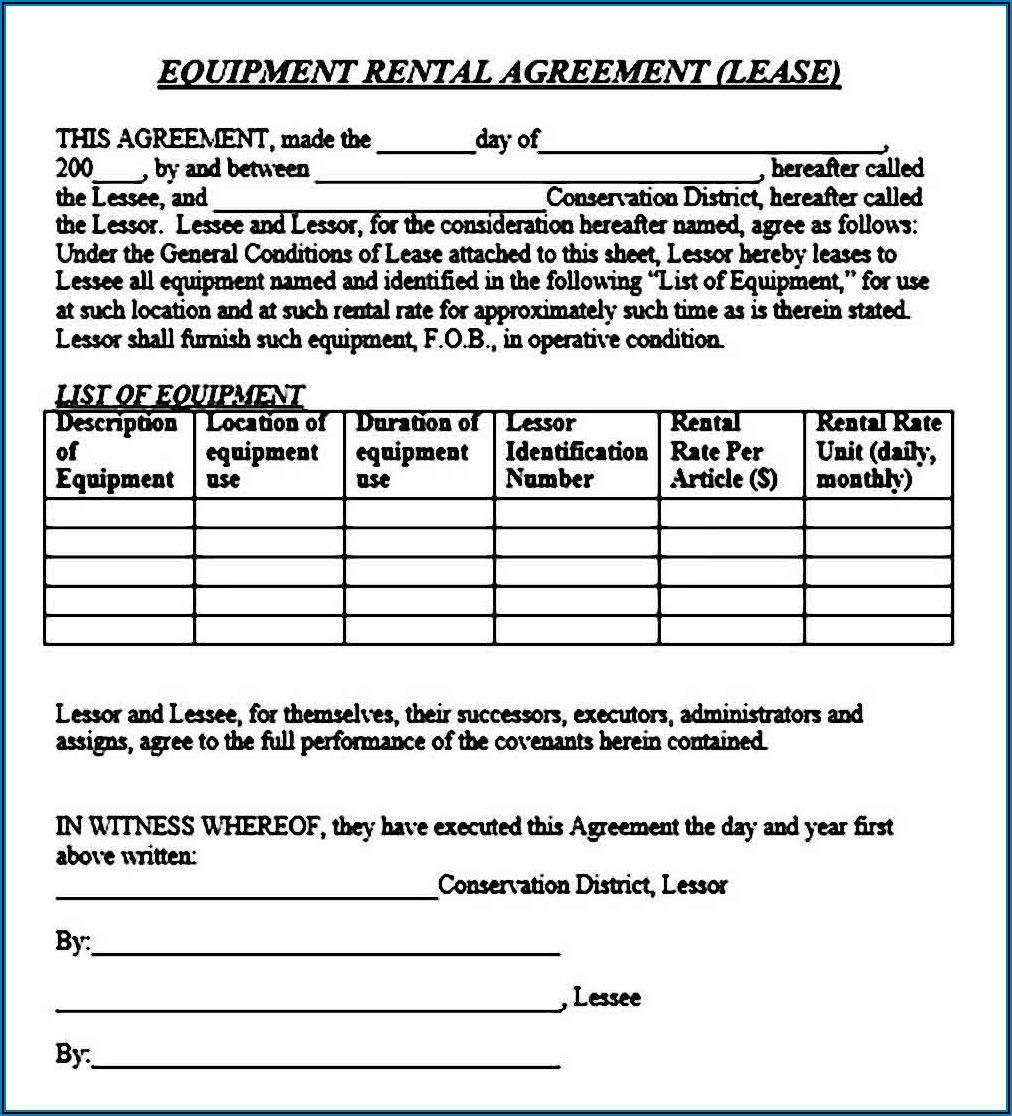 Equipment Rental Agreement Forms Free Download