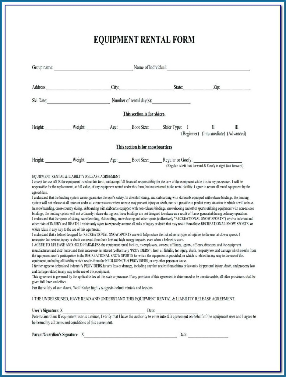 Equipment Rental Forms Free