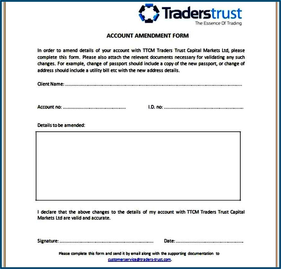 Example Trust Amendment Form
