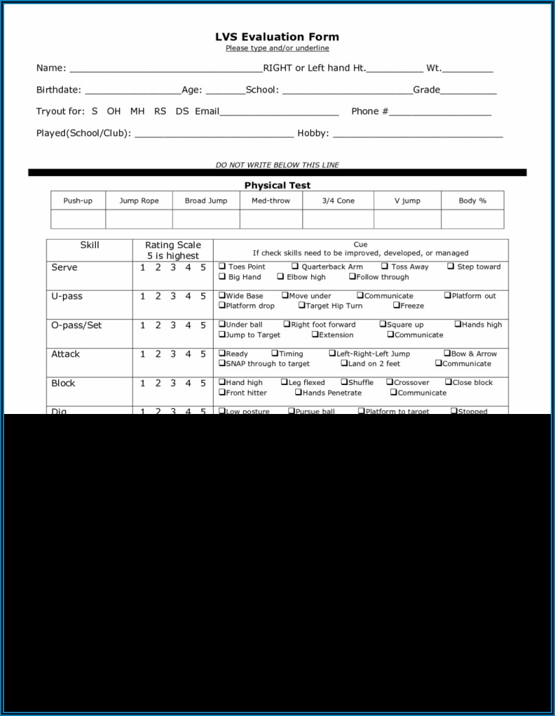 Fastpitch Softball Tryout Softball Player Evaluation Form