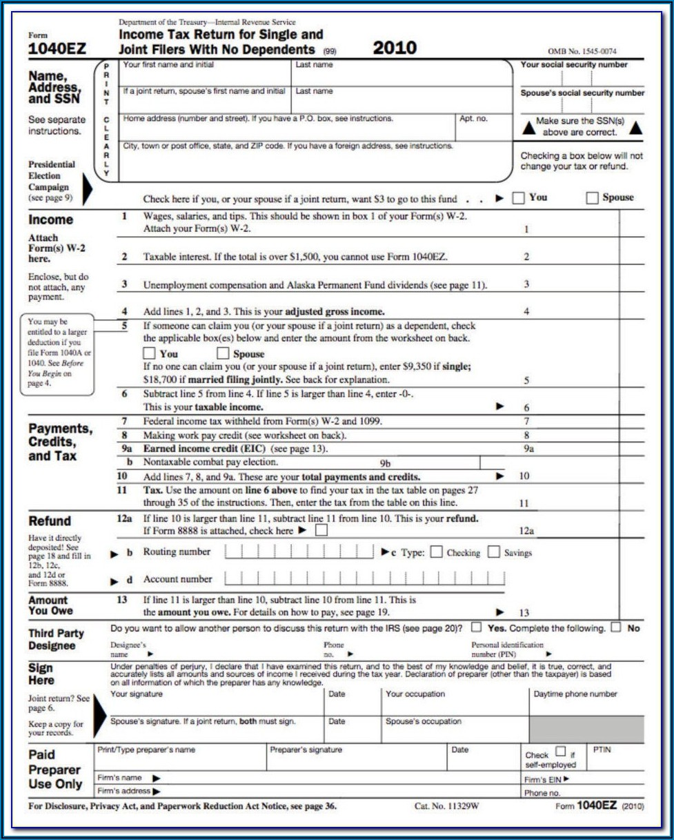 Federal Tax Form Ez 2019