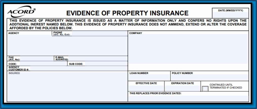 Fillable Acord Form Evidence Of Property Insurance
