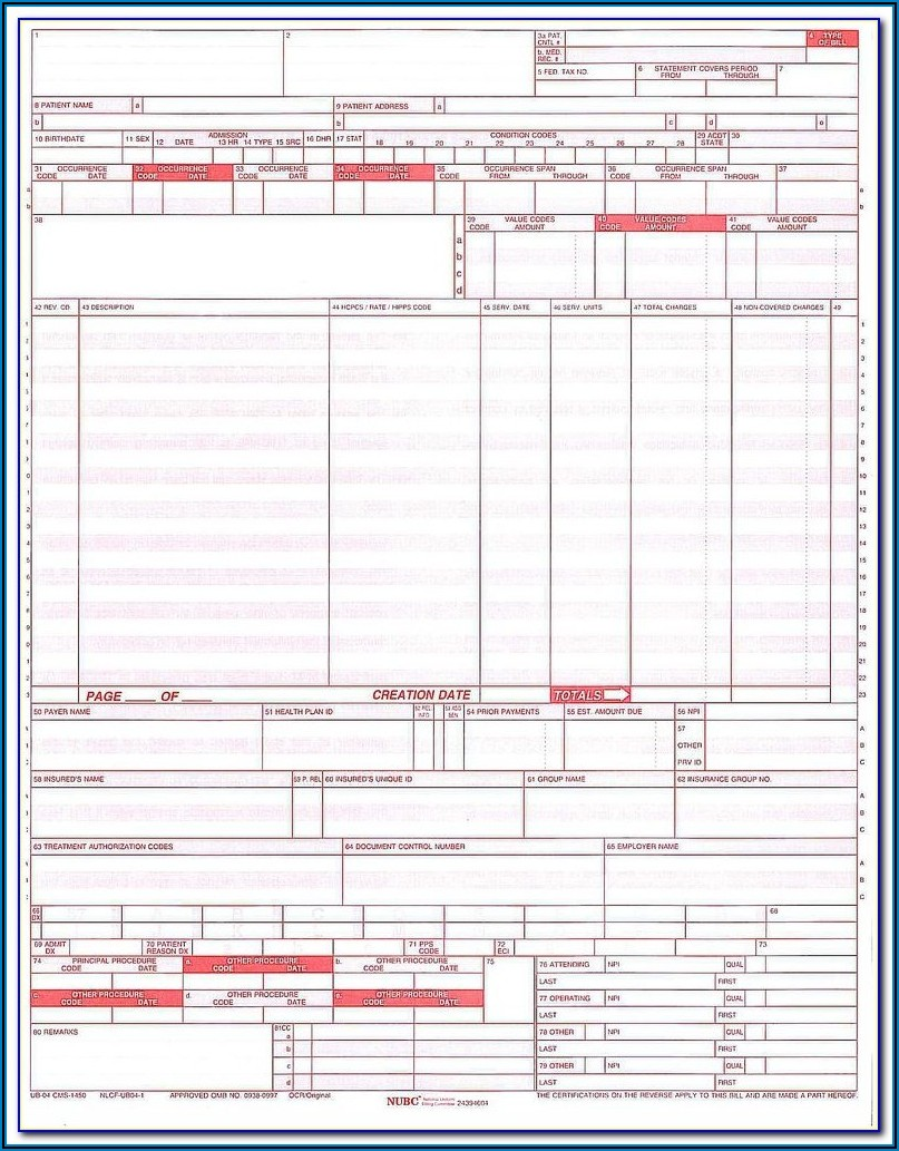 Fillable Ub 04 Form
