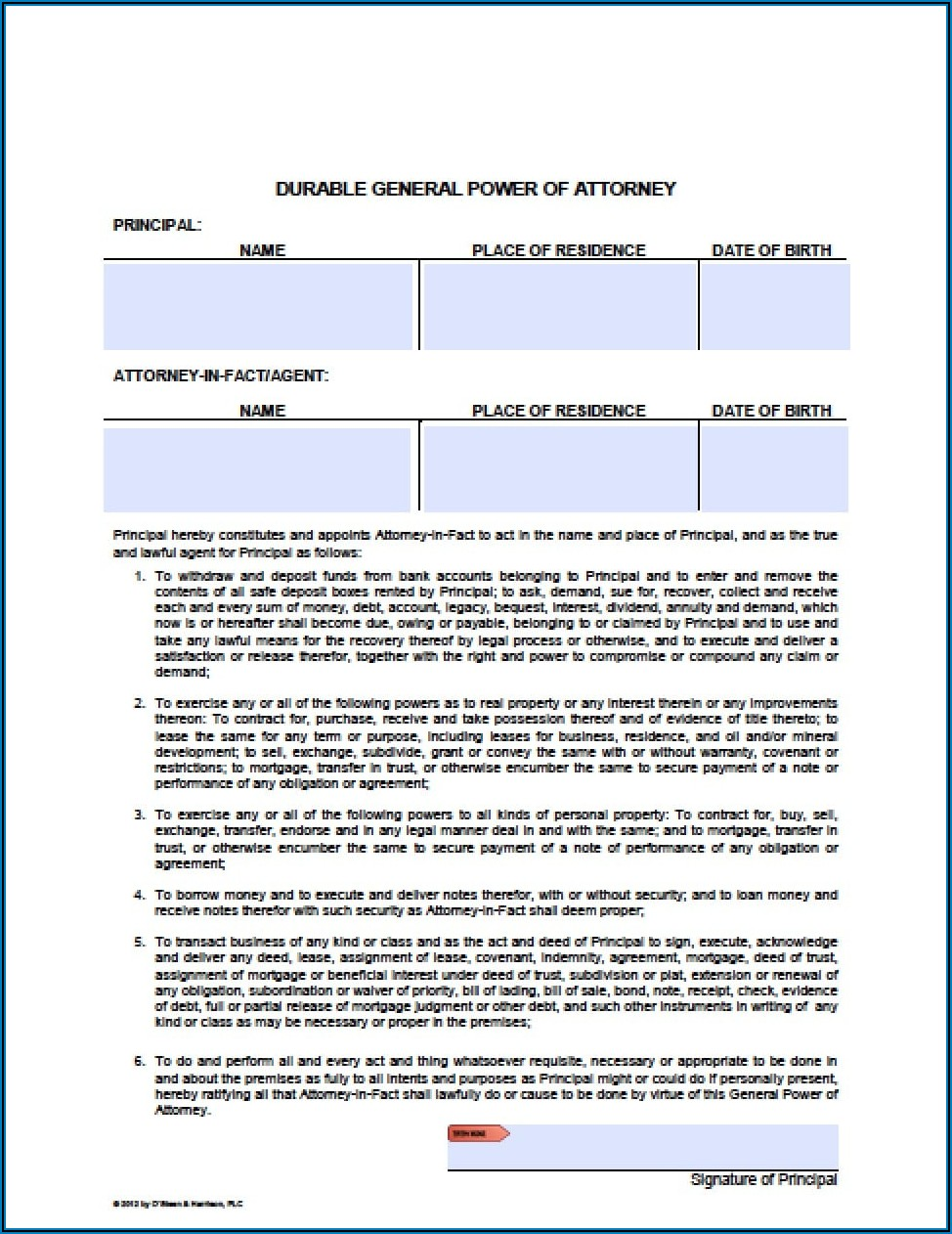 Financial Durable Power Of Attorney Form Arizona
