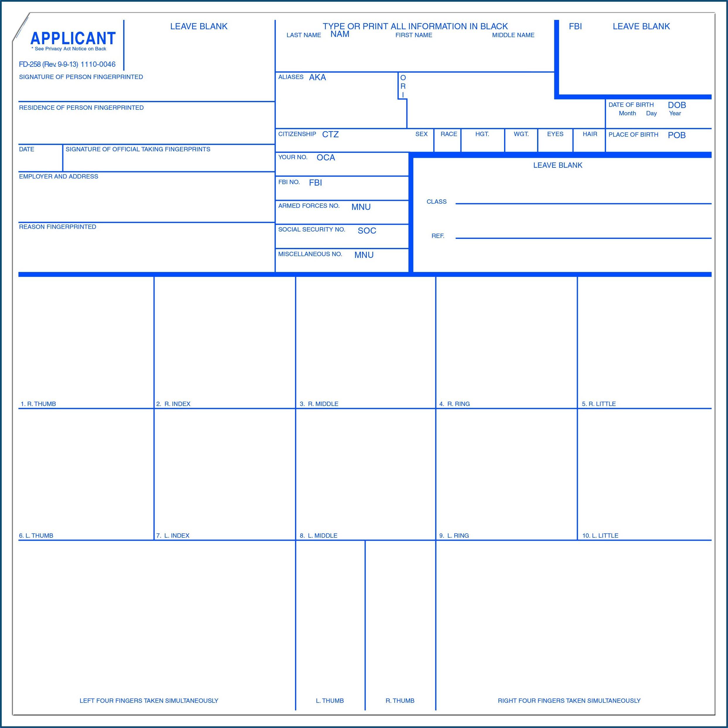 Fingerprint Form Fd 258