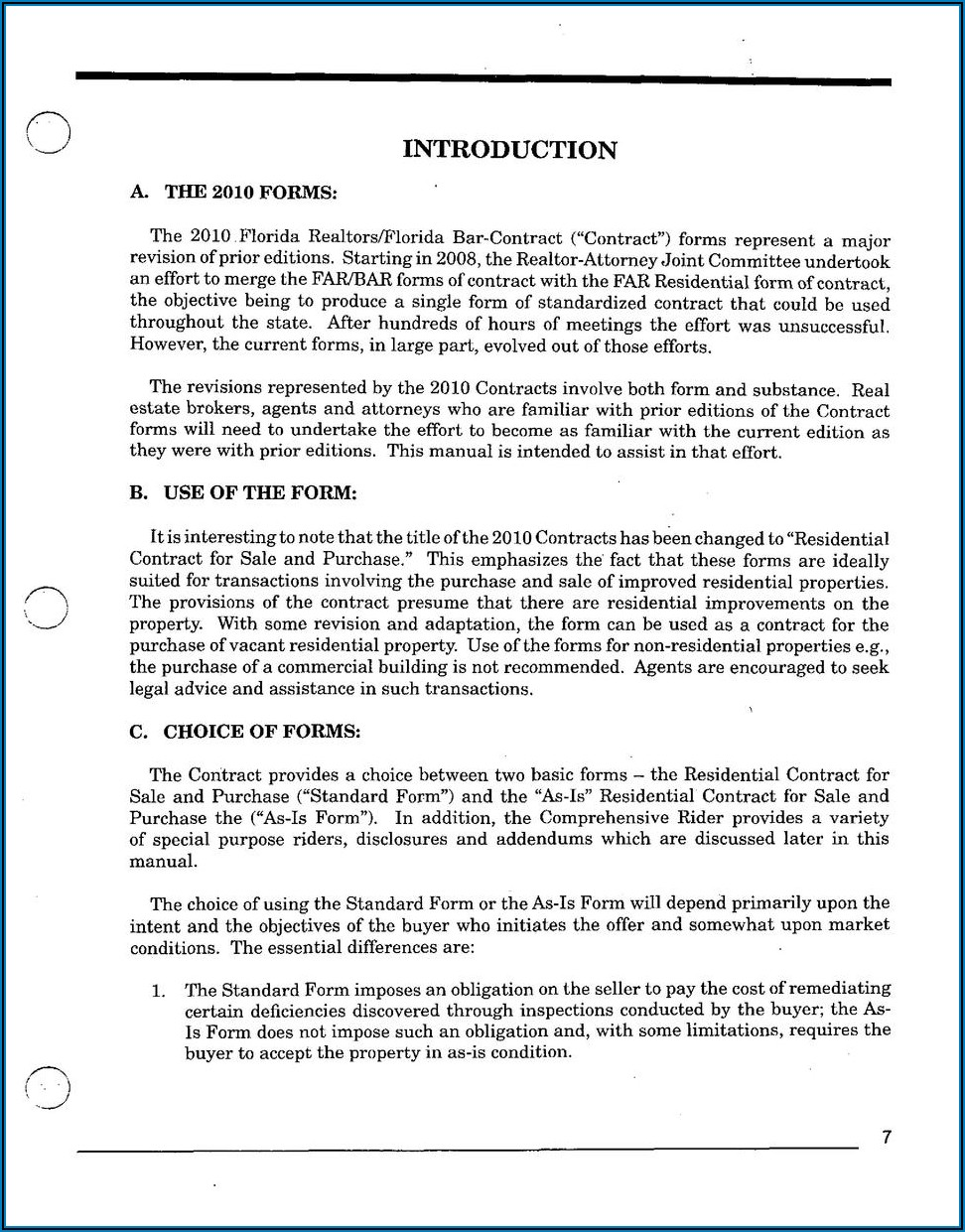 Florida Bar Real Estate Contract Form