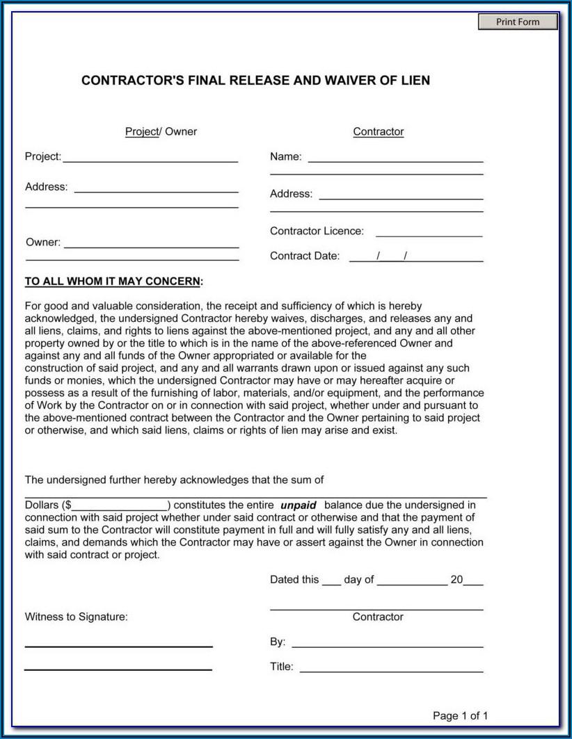 Florida Construction Lien Release Form