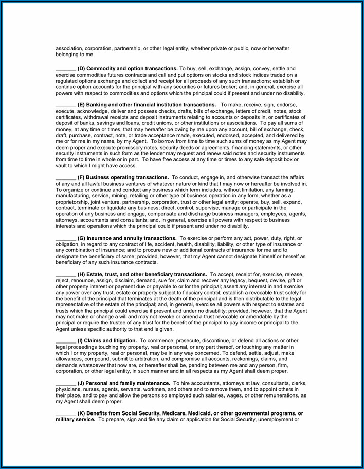 Florida Durable Power Of Attorney Form Pdf