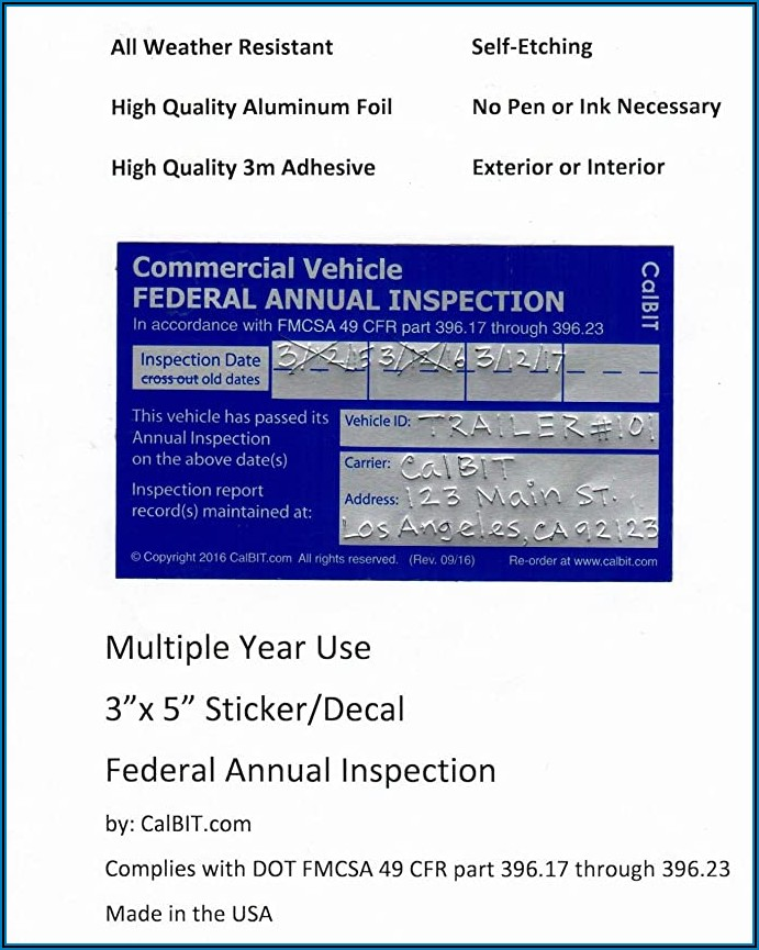 Fmcsa 90 Day Inspection Form
