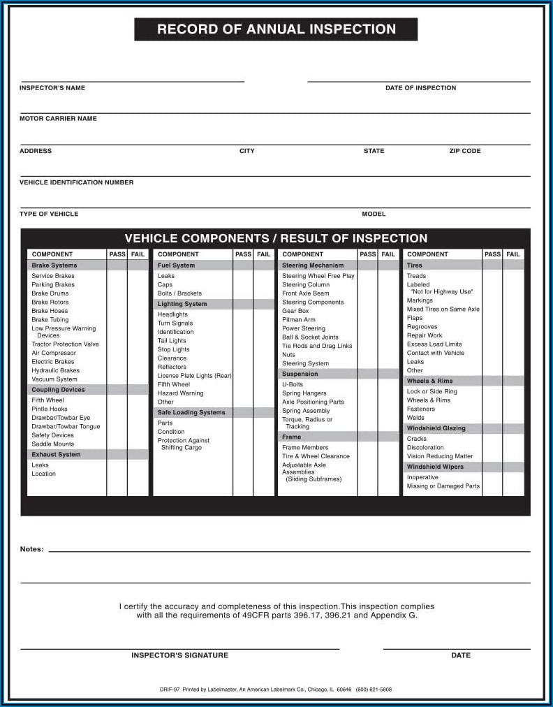 Fmcsa Inspection Form