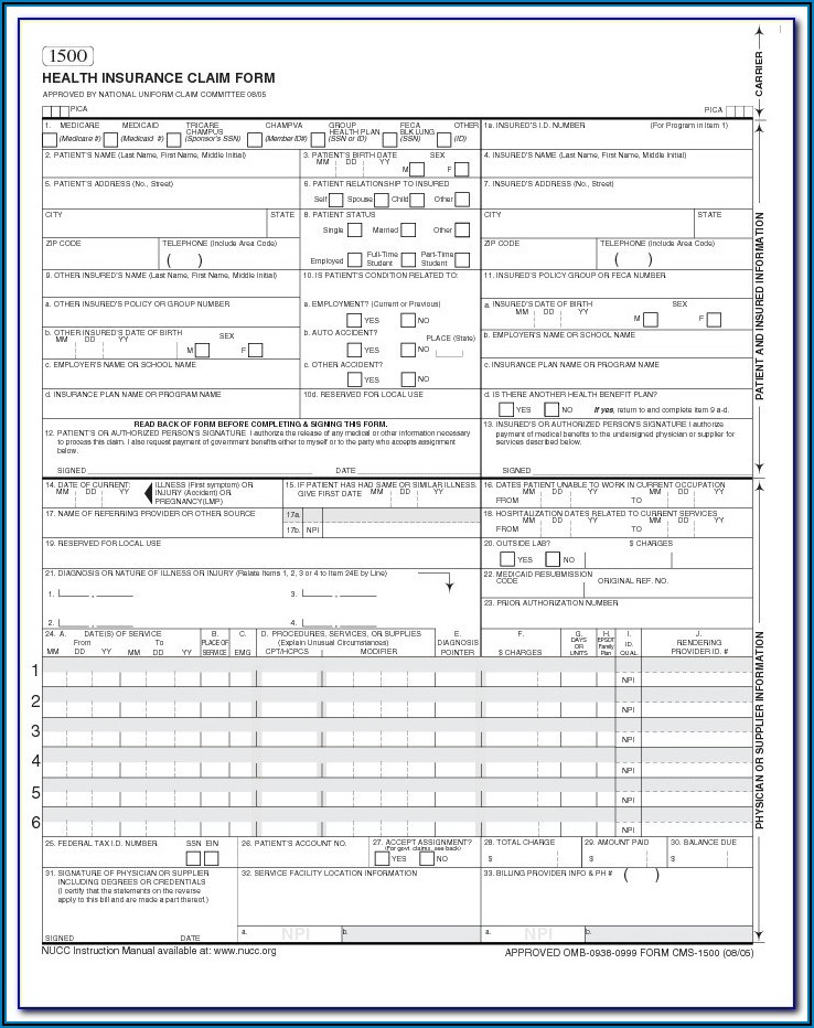Form 1500 Fillable Pdf